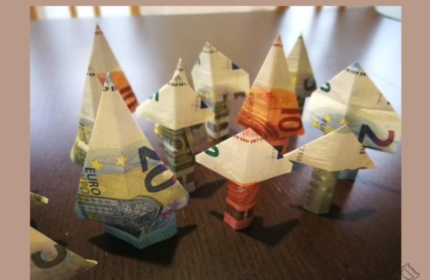 Money origami-Bäume falten